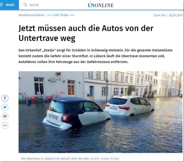 Screen aus den Lübecker Nachrichten.